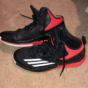 Adidas red and black athletic shoes
